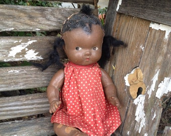 Vintage Antique BLACK AMERICANA Composition Baby Doll