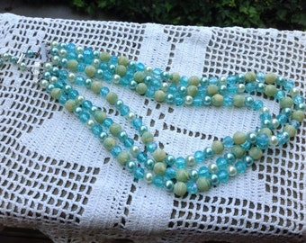 Vintage 1960s Era Aqua/Turquoise and Green Beaded 3 Strand Necklace