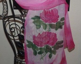 Hand Painted Chiffon Silk Scarf Roses