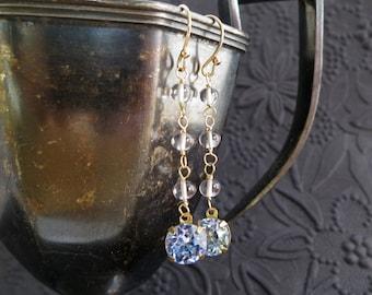 Vintage rhinestone, pink amethyst earrings in 14k gold fill - cornflower blue gemstone -  long beaded dangle - flapper - roaring 20s