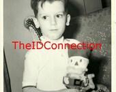 Vintage Black & White Christmas Photograph, My Favorite Christmas Ornament, Santa Claus, Kris Kringle, Little Boy