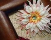 Nicole-  Pink and cream pin-up Feminine handmade hair flower rockabilly Prom  hair accessory