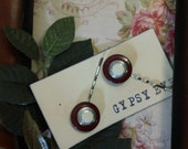 Vintage inspired Deep Red and Ivory upcycled button Bobby Pins