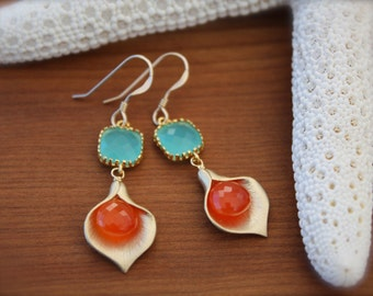 Handmade Aqua Chalcedony and Carnelian Calla Earrings- Gold Filled by Yania Creations