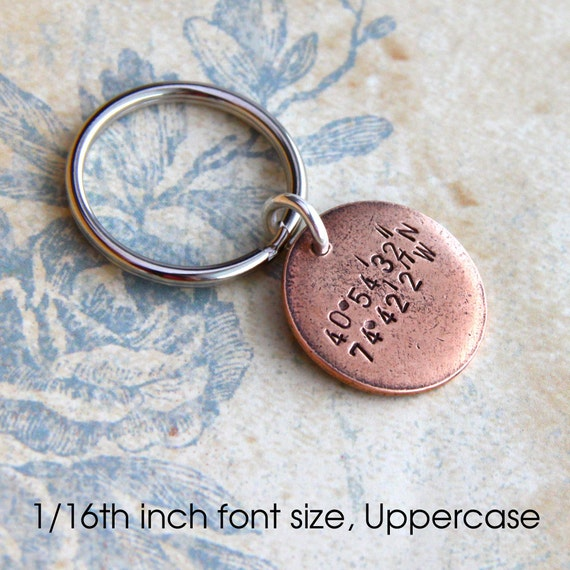Latitude Longitude Keychain.. Hand Stamped customized antiqued metal charm. Round pendant in Copper, Silver or Gold. Souvenir Medallion Gift