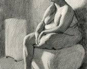 Original Drawing Nude Female Graphite Figure Drawing - Q
