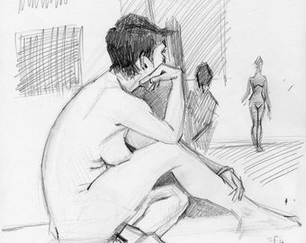 Original Drawing Nude  Female Graphite Figure Gesture Sketch - Shalyn at Studio Larose