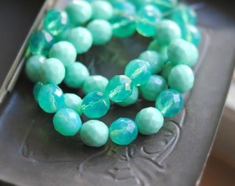 Mountain Dew - Czech Glass Beads, Opaque, Translucent Turquoise Opal, Czech Glass, Firepolish, Facet Round Mix 12mm - 4Pc