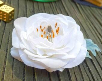 Garden Bridal Peony Hair Flower Fascinator- Weddings- Bride- Bridesmaid- Gift, Mint,  Simple, Elegant