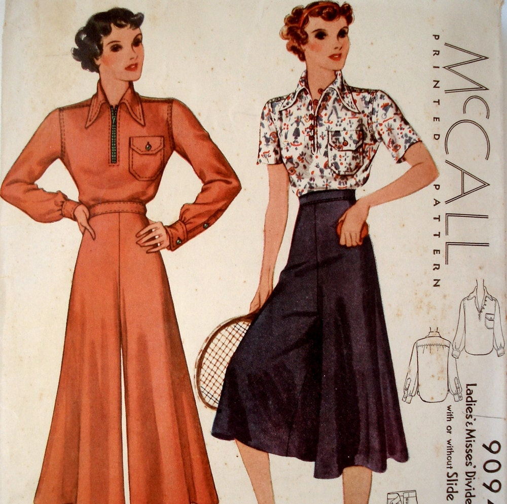 Vintage 1930s Blouse & Divided Skirt Pattern McCall 9094 Bust