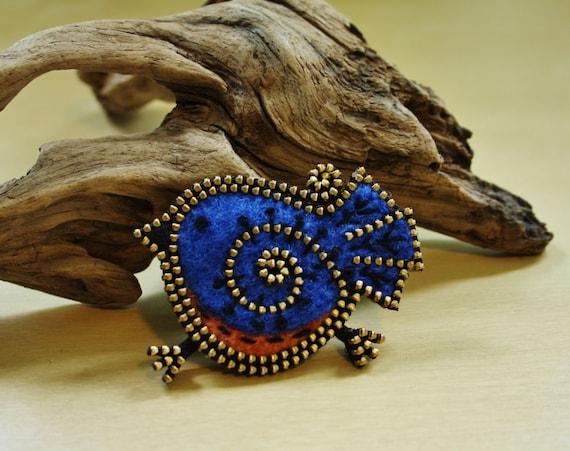Broche de pájaro azul de lana y cremallera
