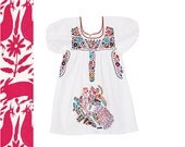 Beautiful flower girl dress Mexican embroidered tunic dress baby size 2 color white