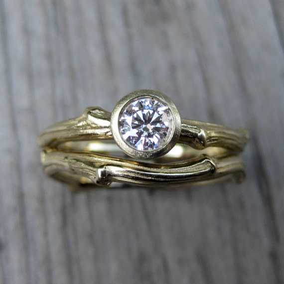 diamond twig engagement and wedding ring set by kristincoffin