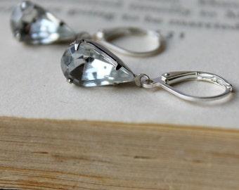 Crystal Clear, Vintage Jewel Earrings, Old Hollywood Glam, Wedding, Silver