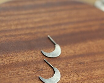 Florida- sterling silver crescent moon - stud earrings