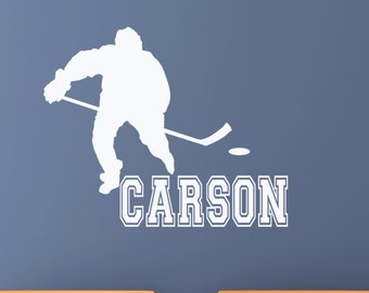 Hockey Wall Decal Personalized Kids Gifts Hockey Player Name Stickers Christmas Gifts for Him