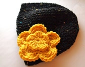 Crochet hat, womens crochet hat with flower, womens winter hat, winter accessories
