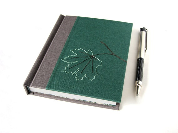 SALE - Keepsake Journal - Handmade Green Journal with Maple Leaf Embroidery - Gifts for Writers
