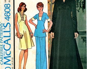 McCalls 4608 Retro Empire Dress Top Pants Size 12 Uncut Vintage Sewing Pattern 1975