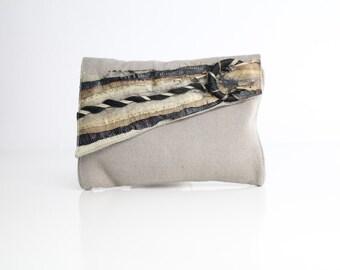 Vintage Snakeskin and Wool Envelope Clutch | Natural Woven Fiber Bag | 1970s Avant Garde Purse