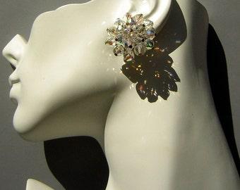Cha Cha Earrings Vintage 60s AB Crystal - Clip On Rainbow Sparkle MOD GoGo