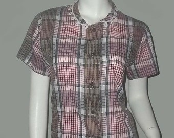 Vintage 50's Rockabilly Plaid Blouse Novelty LOOPY COLLAR M 40