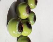 Bitter Green..... enamel beads