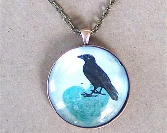 Black Raven & Blue Heart Bird Victorian Pendant