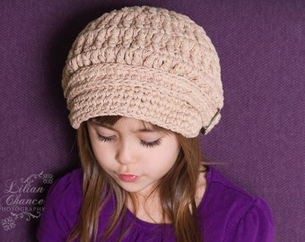 Toddler Newsboy Hat 1T to 2T Toddler Girl Newsboy Cap Toddler Boy Newsboy Toddler Girl Hat Toddler Boy Hat Toddler Hat Khaki Crochet Newsboy