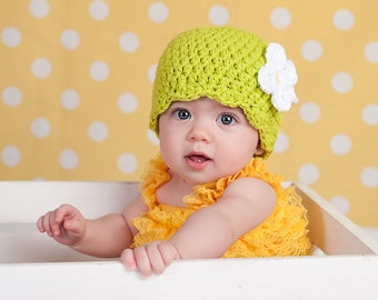 Baby Girl Hat 0 to 3 Month Lime Green Baby Hat Baby Girl Clothes Crochet Flower Hat Flapper Beanie Flapper Hat White Flower Photo Prop