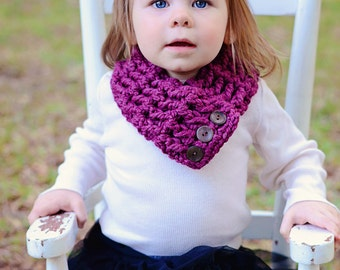 Purple Plum Toddler Scarf Purple Toddler Scarf Toddler Scarflette Purple Scarf Purple Scarflette Toddler Girl Scarf Button Cowl Fall Winter