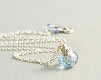 Blue Quartz Drop Necklace, Powder Blue Sterling Necklace, Handmade