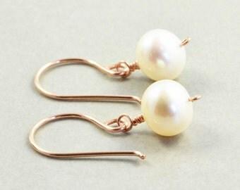White Pearl Earrings, Rose Gold, June Birthstone, Pearl Drop Earrings