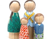 Custom Peg Doll Family Portrait of 4 // Goose Grease Personalized Family of 4 // Hand-Painted Wooden Peg Dolls // Peg Dolls