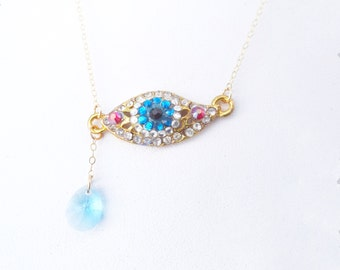 Evil Eye Necklace, Blue Crystal Tear, Swarovski Crystal, Surreal, Dali Inspired , Gold Filled Chain, Batcakes Couture