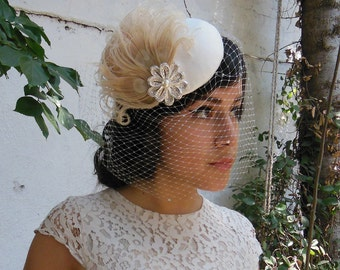 Wedding Veil, Birdcage Veil, Feather Fascinator, Silver Flower, Champagne Pearl, Bridal, Woman's Hat, Unique Bridal,  Batcakes Couture