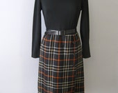 vintage 1960s wool black and plaid two-fer dress. FREE U.S. SHIPPING