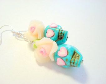 Pale Pink and Turquoise Heart Eyes Day of the Dead Roses and Sugar Skull Earrings
