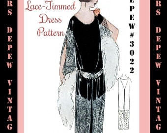 Vintage Sewing Pattern Instructions 1920's Flapper Easy One Piece Lace Panel Dress Ebook Depew 3022 -INSTANT DOWNLOAD-
