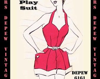 Vintage Sewing Pattern 1950's Play Suit in Any Size - PLUS Size Included - Depew 6161 -INSTANT DOWNLOAD-