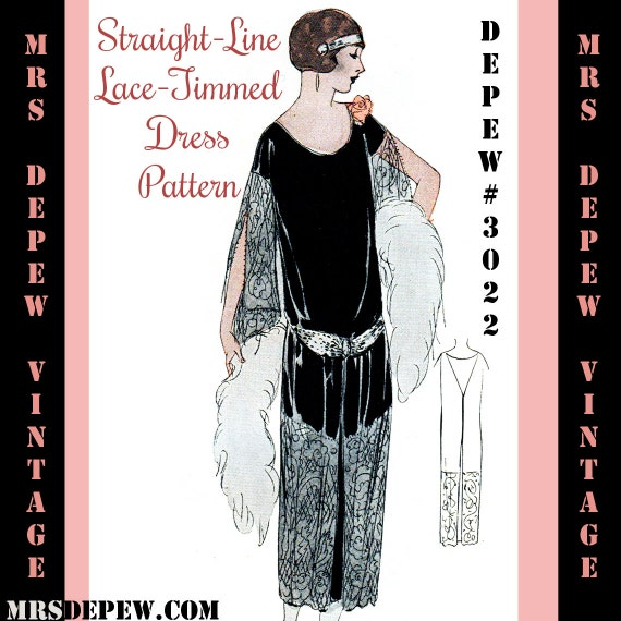 1920s Patterns – Vintage, Reproduction Sewing Patterns 1920s Flapper Easy One Piece Lace Panel Dress Ebook Depew 3022 -INSTANT DOWNLOAD- $7.50 AT vintagedancer.com