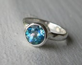 Silver Mystic Topaz Ring - Gemstone Engagement Ring - Limited Edition Seascape Mystic Topaz Solitaire - Sterling Silver Mystic Topaz Ring