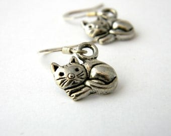 Silver Cat Earrings Dangle Earrings
