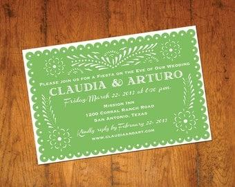 Green Talavera Invitation Papel Picado banner Fiesta Wedding, Engagement, Shower Cinco de Mayo  -  I design you print