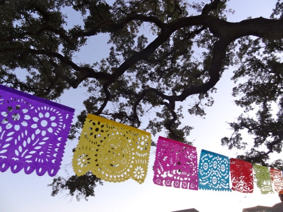 4 All Occasion Tissue Paper Papel Picado Banners for your Fiesta - Birthday, Bridal Shower, Couple's shower, Rehearsal Dinner, cinco de mayo
