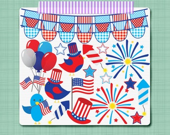 Patriotic Clip Art 4th of July Clipart July Fourth Digital Scrapbooking Elements -  Personal and Commercial Use INSTANT DOWNLOAD