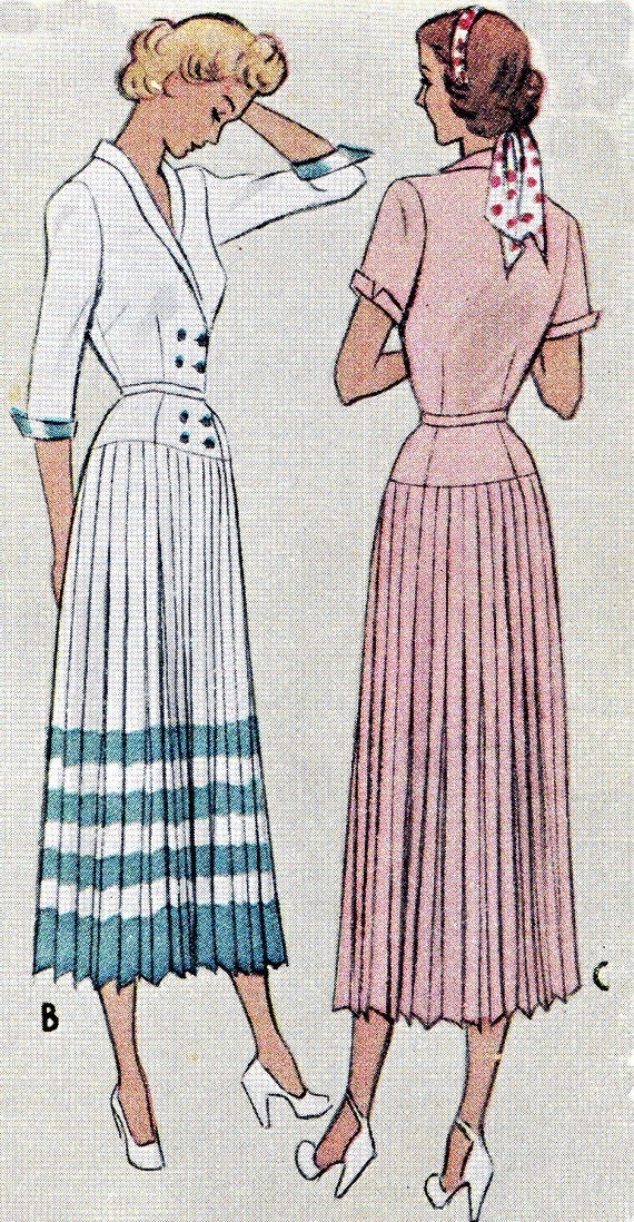 1940s Style Dresses Fashion Clothing: 1940s Dress Pattern McCall 7682 Double Breasted Coatdress