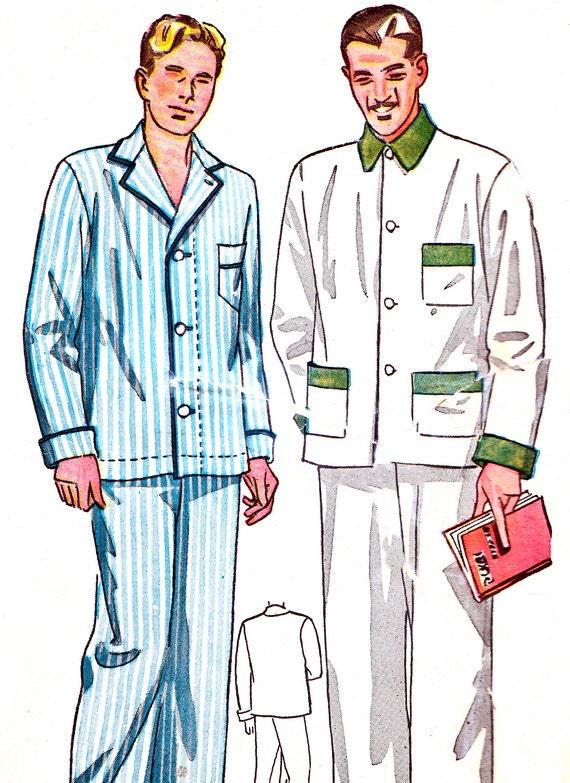 Mens Pajamas Pattern Simplicity 1617 Long Sleeve Mens Collared