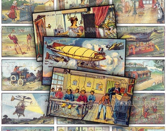 STEAMPUNK 2000 - Digital Printable Collage Sheet - Futuristic France with Victorian Women, Zeppelins & Mechanical Gadgets, Instant Download