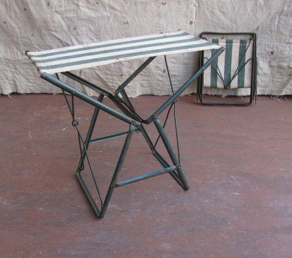 Vintage C 1940s Folding Camp Stool Metal And Green Striped